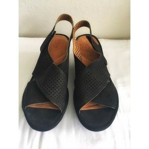Black wedge sandals by Clarks Artisan. Size 11.